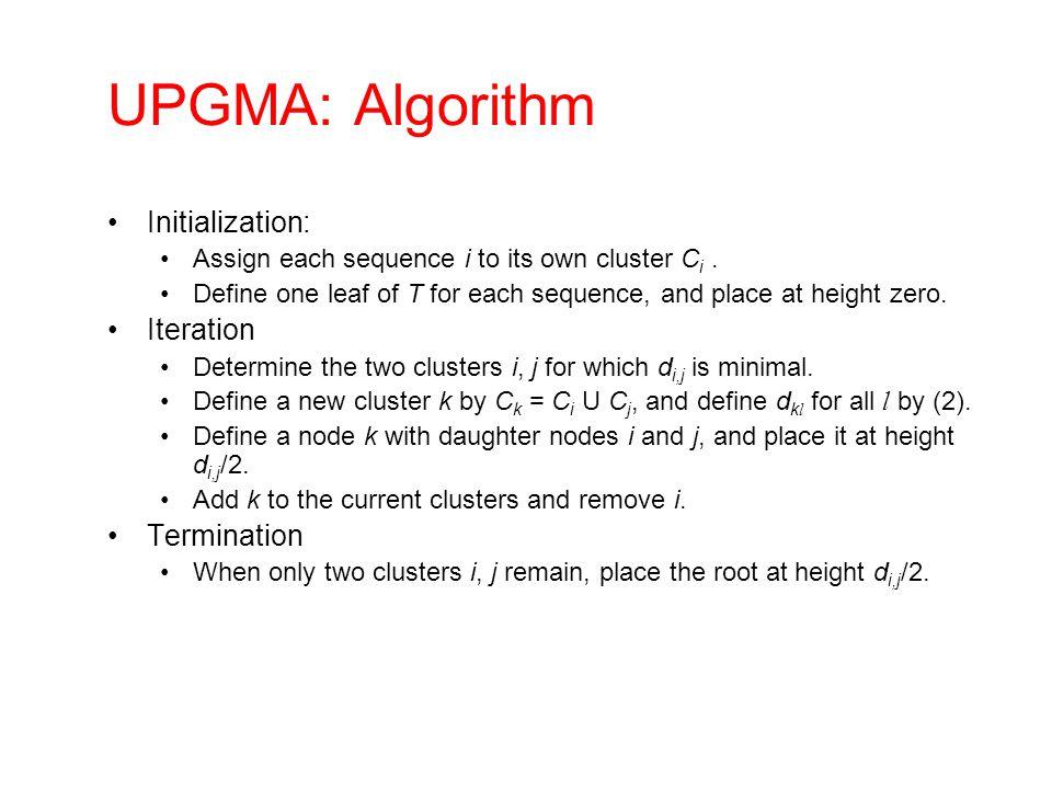 UPGMA: Algorithm Initialization: Iteration Termination