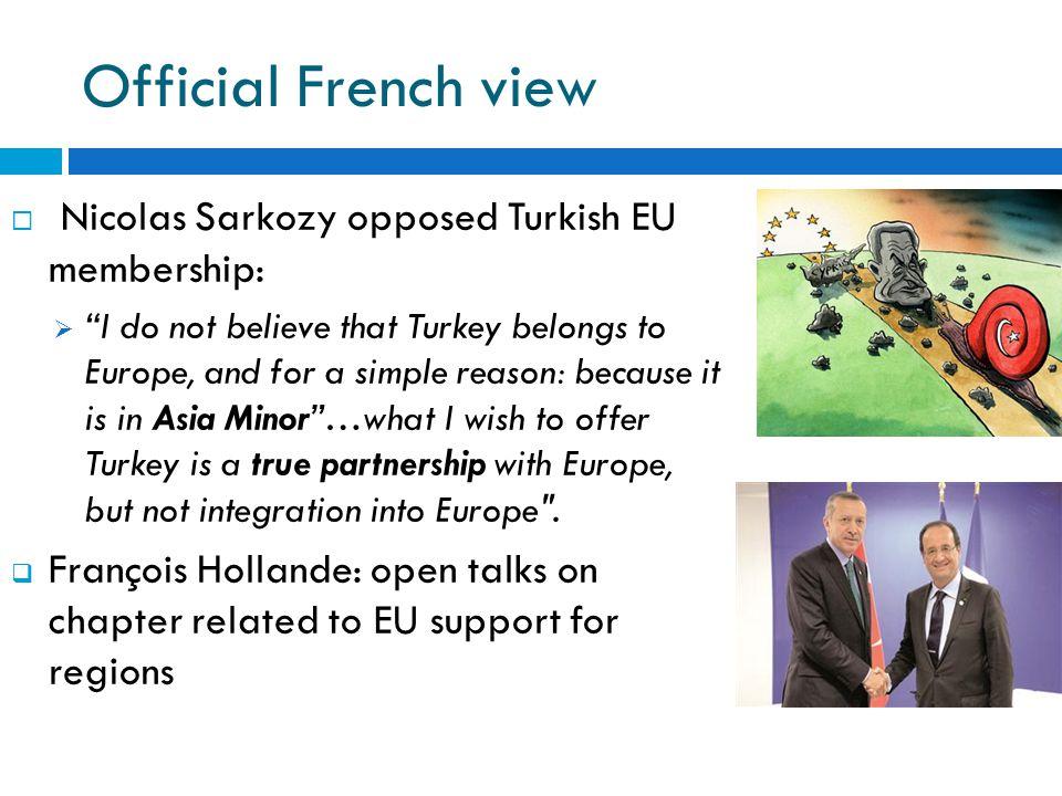 Official French view Nicolas Sarkozy opposed Turkish EU membership: