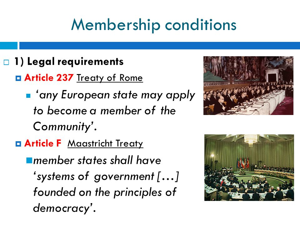 Membership conditions