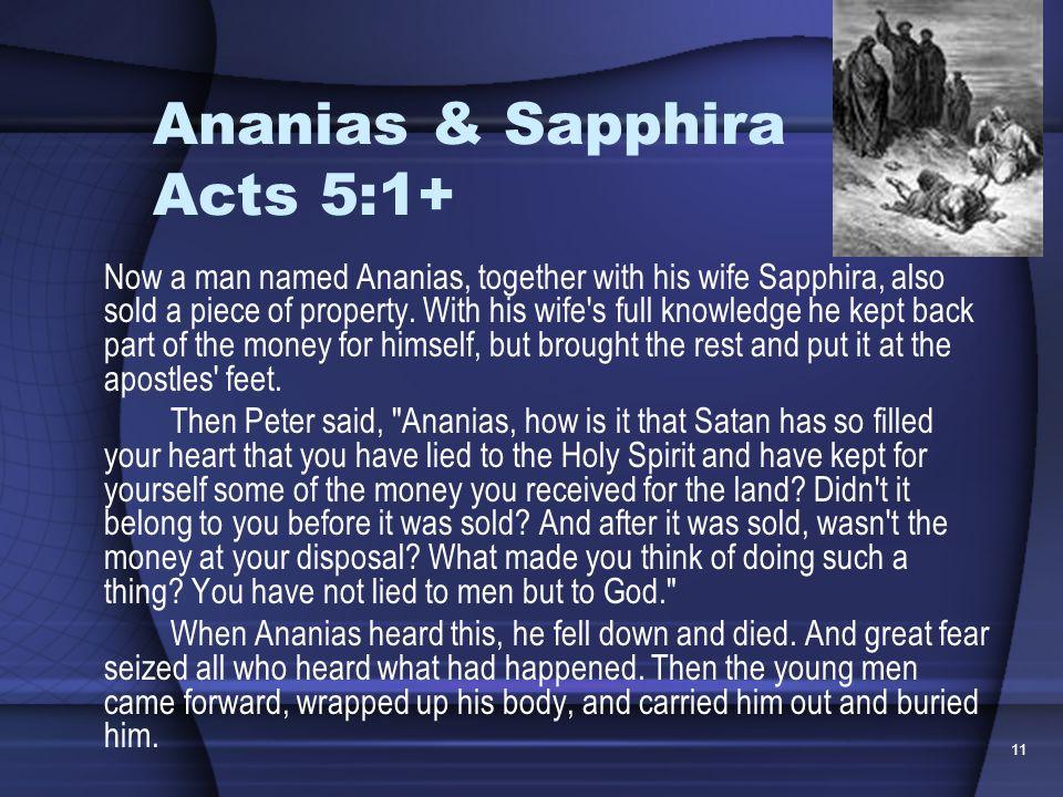Ananias & Sapphira Acts 5:1+
