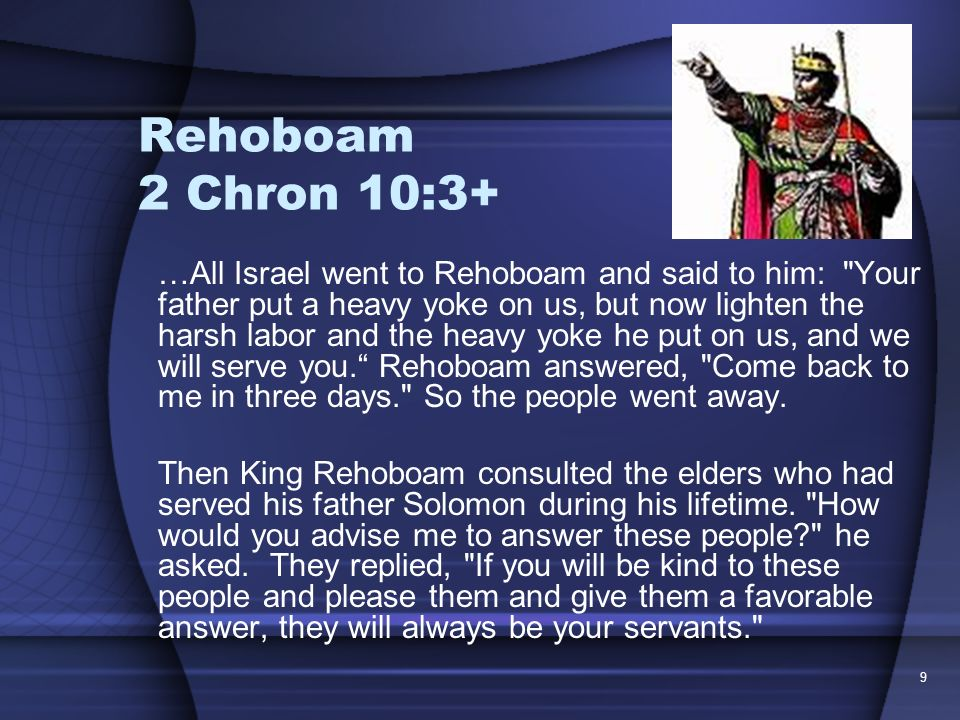Rehoboam 2 Chron 10:3+