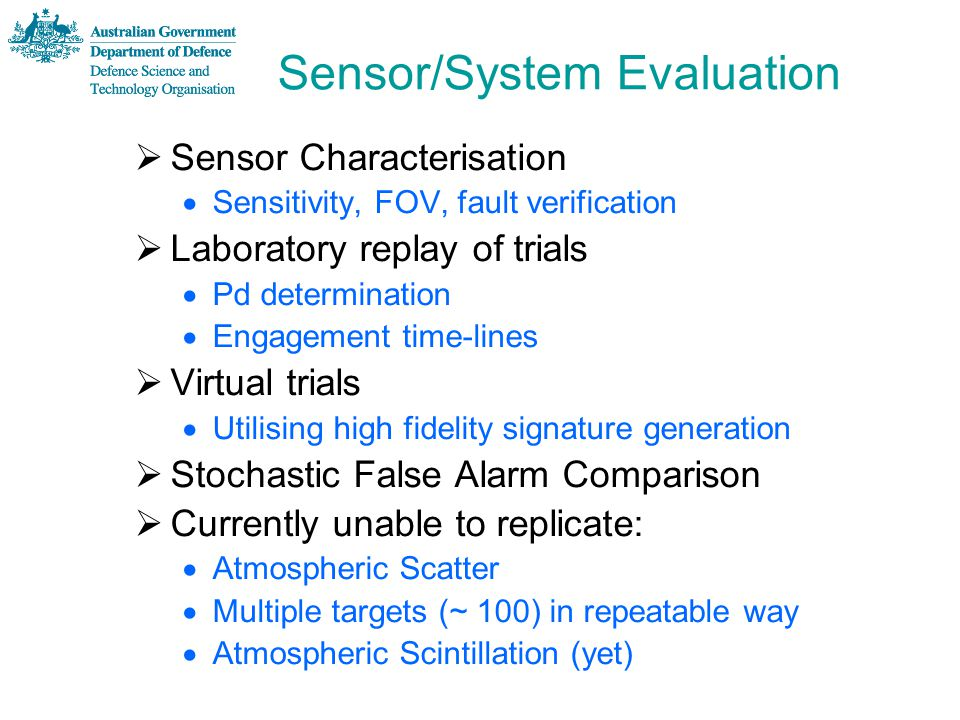Sensor/System Evaluation