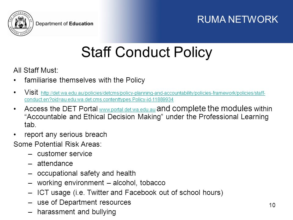 Staff Conduct Policy WORKFORCE MANAGEMENT RUMA NETWORK