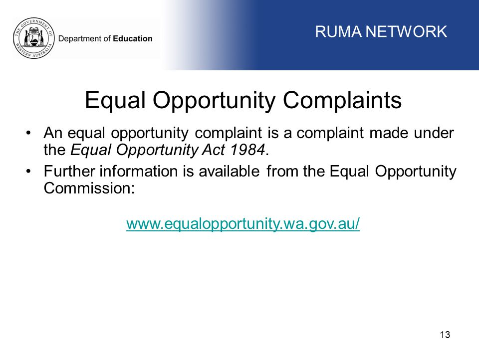 Equal Opportunity Complaints