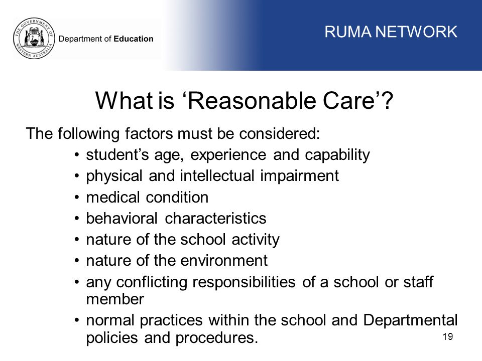 What is 'Reasonable Care'