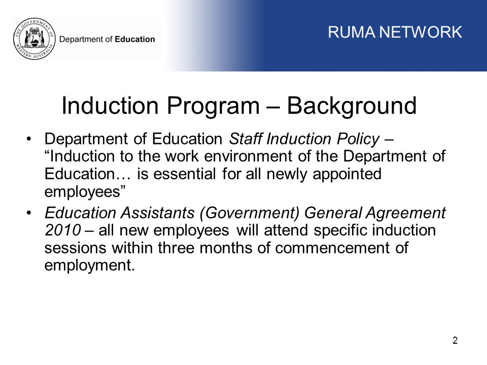 Induction Program – Background