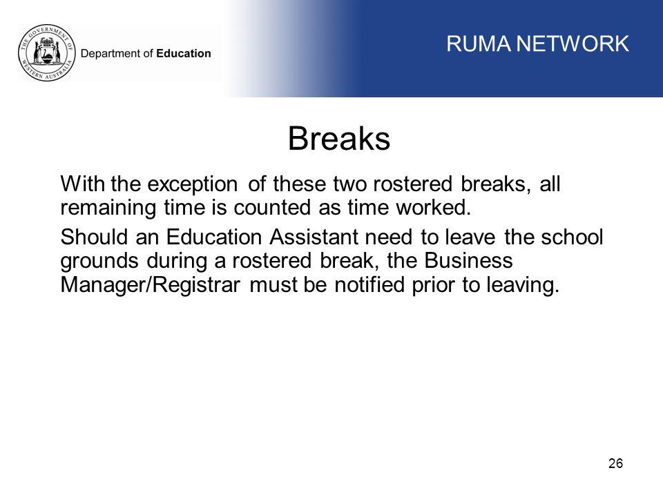 Breaks WORKFORCE MANAGEMENT RUMA NETWORK WORKFORCE MANAGEMENT