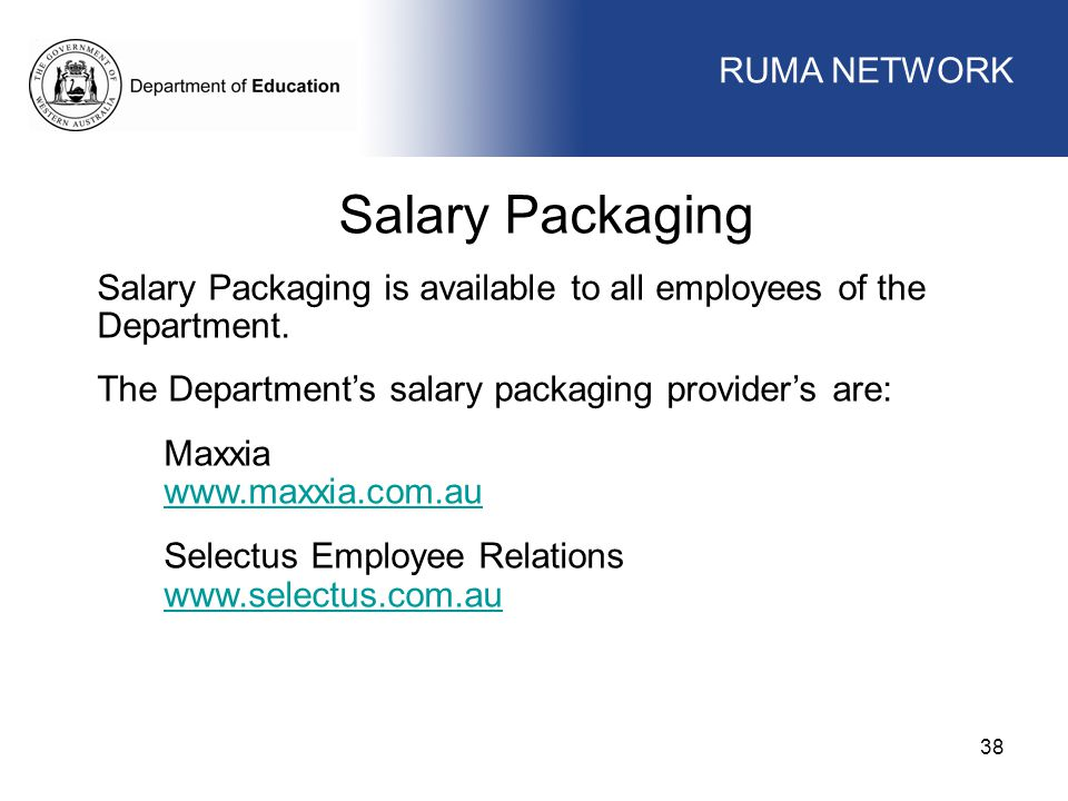 Salary Packaging WORKFORCE MANAGEMENT RUMA NETWORK