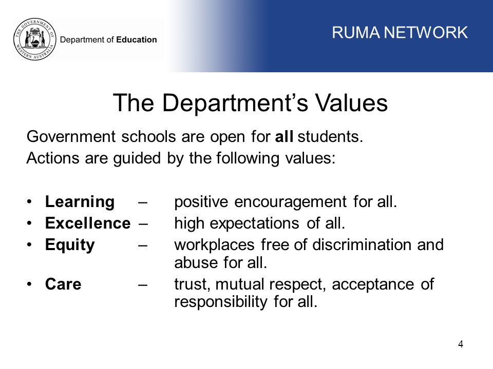 The Department's Values