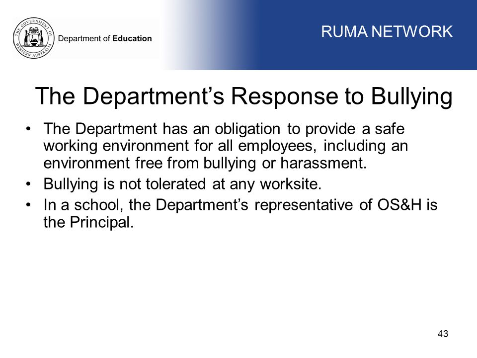 The Department's Response to Bullying