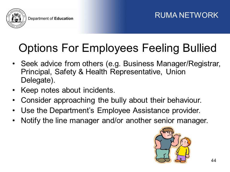 Options For Employees Feeling Bullied