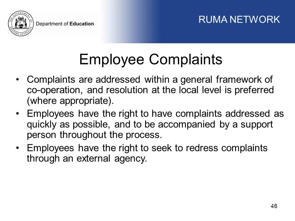 Employee Complaints WORKFORCE MANAGEMENT RUMA NETWORK
