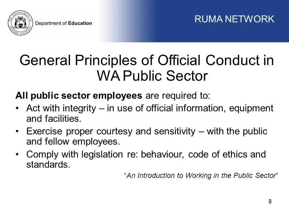 General Principles of Official Conduct in WA Public Sector