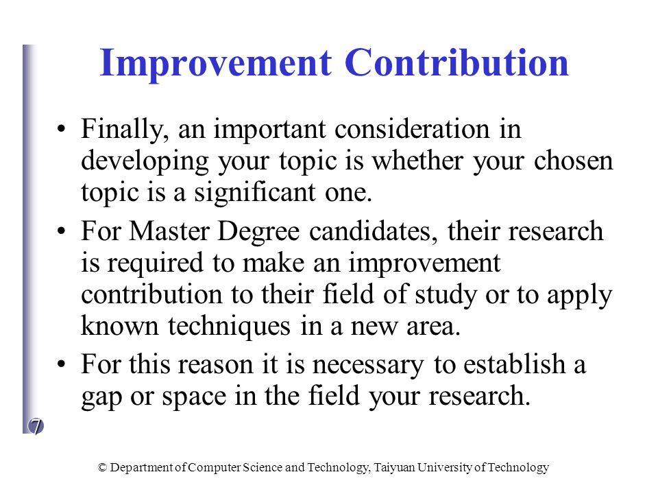 Improvement Contribution