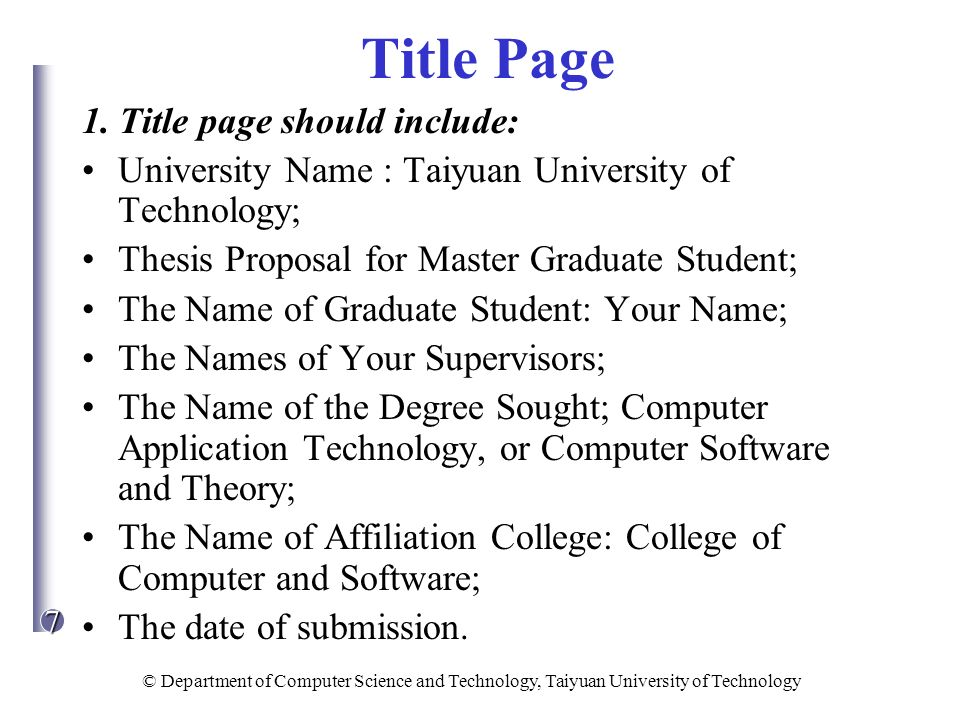 Thesis proposal title page & How to Write a Thesis for a