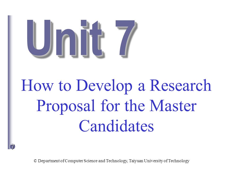 How to Develop a Research Proposal for the Master Candidates