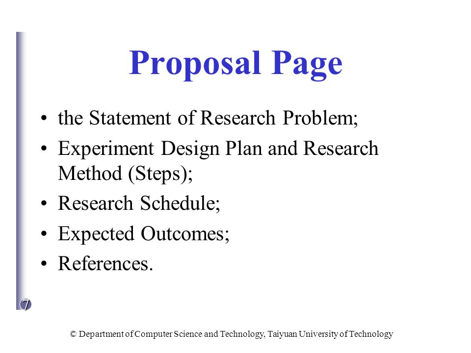 Proposal Page the Statement of Research Problem;