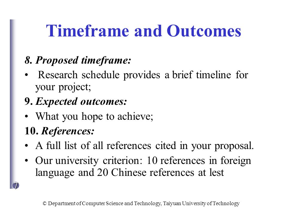 Timeframe and Outcomes