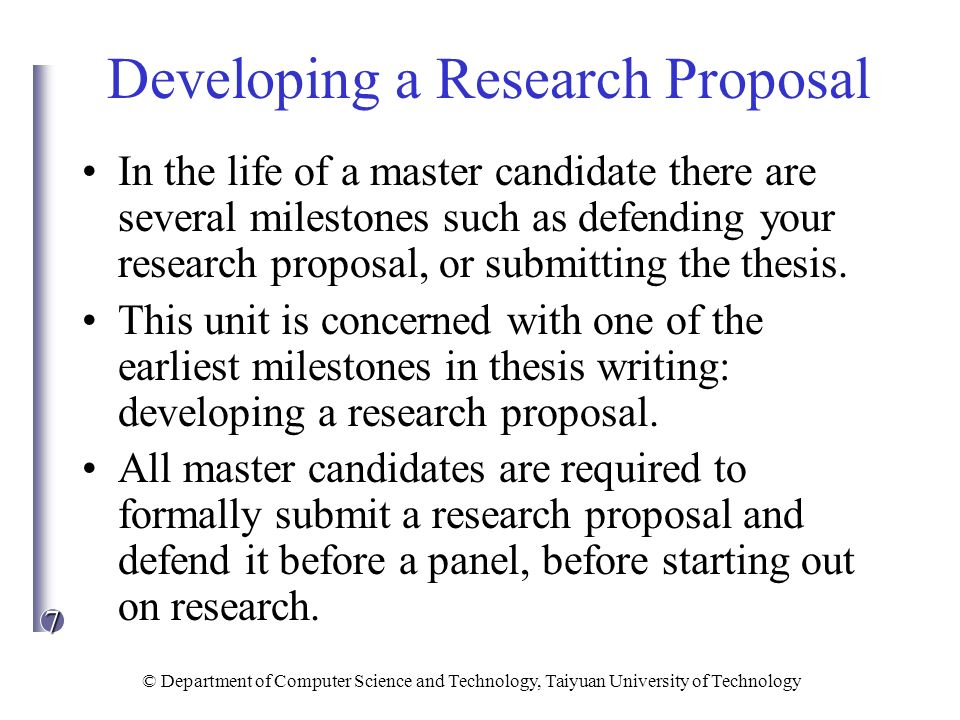 writing thesis research proposal Writing a thesis proposal: what is a thesis proposal 11 (3) writing the proposal 13 (4) freedom in choosing specific research questions.