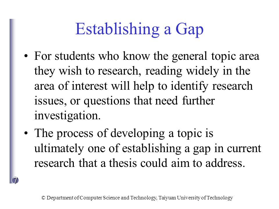 Establishing a Gap