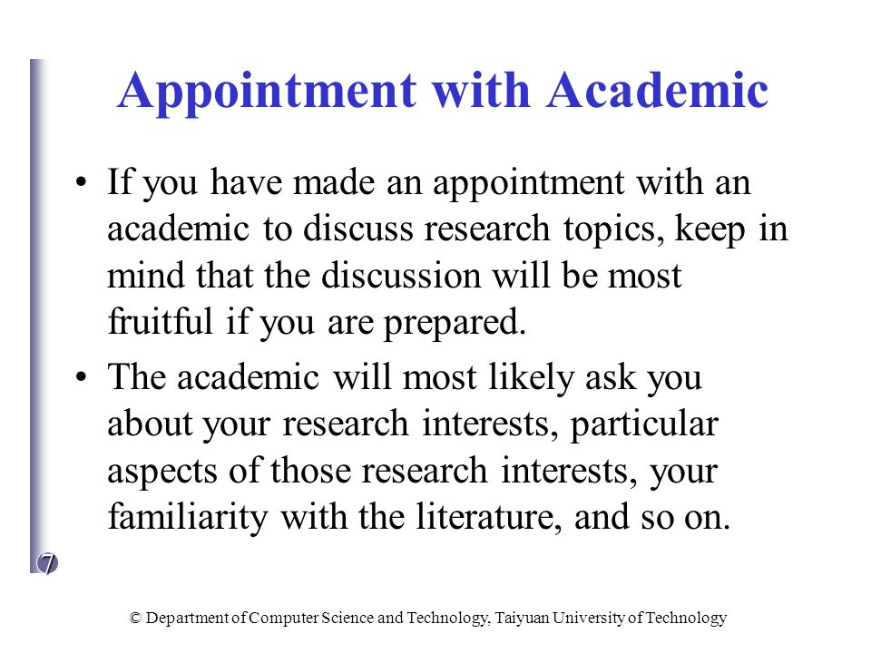 Appointment with Academic