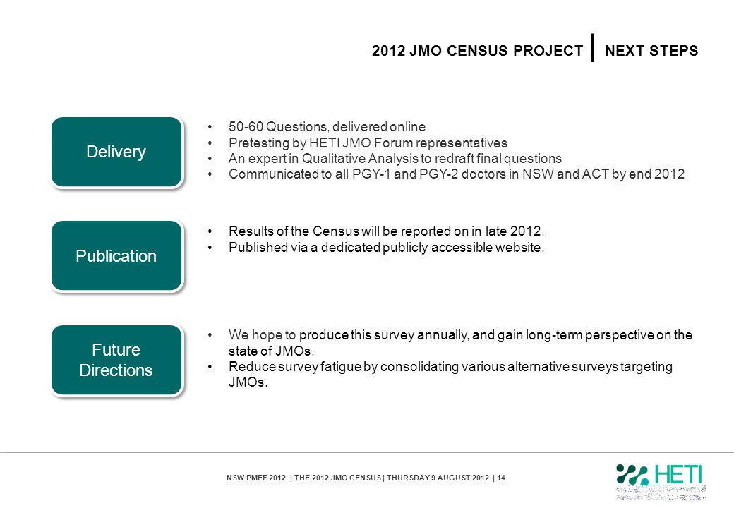 2012 jmo census PROJECT | next steps