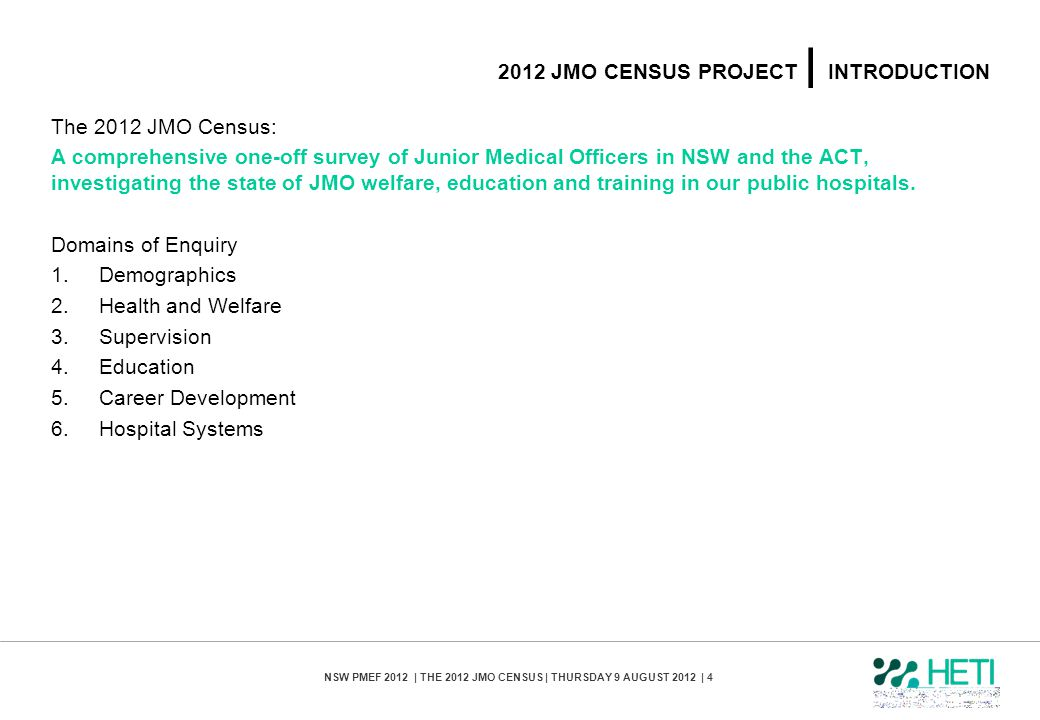 2012 jmo census PROJECT | introduction