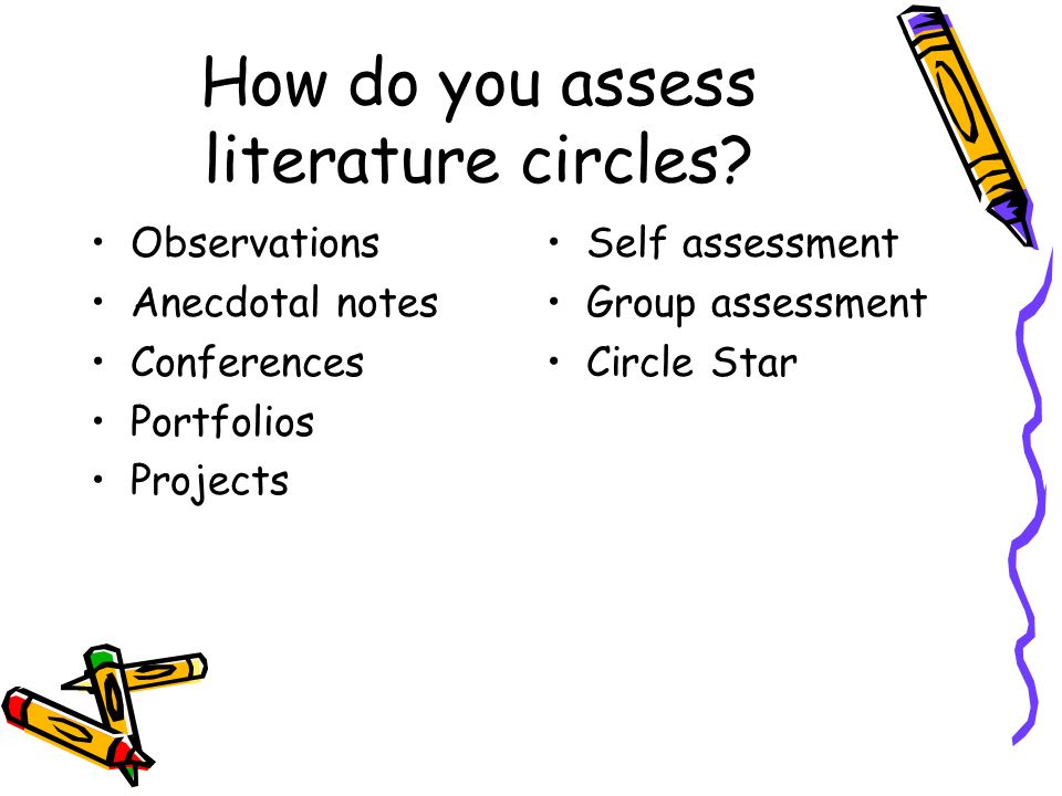 How do you assess literature circles