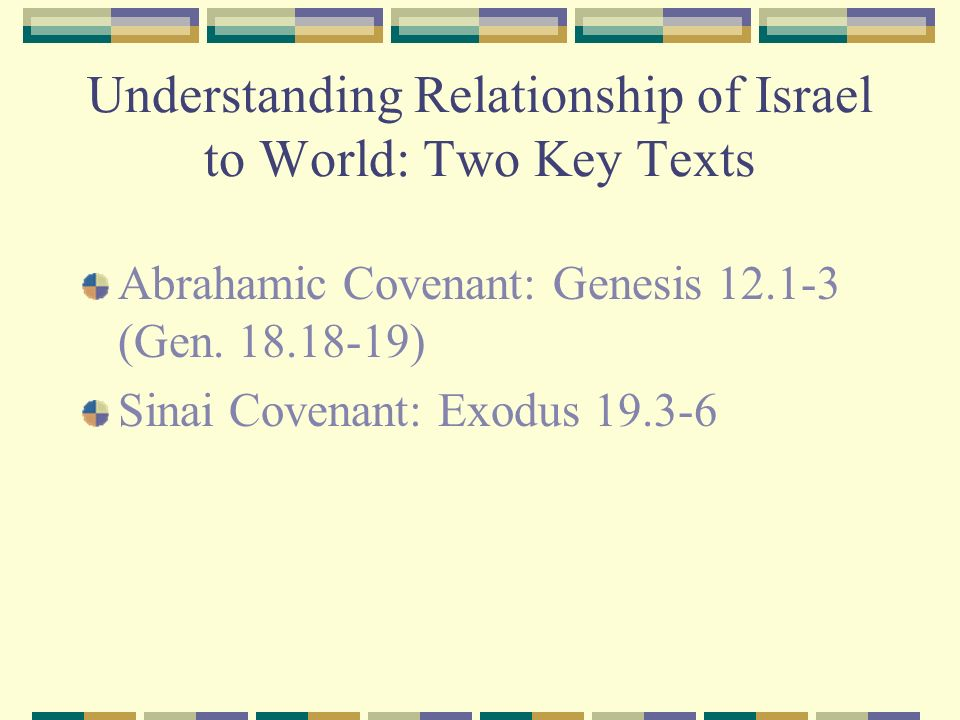 Understanding Relationship of Israel to World: Two Key Texts