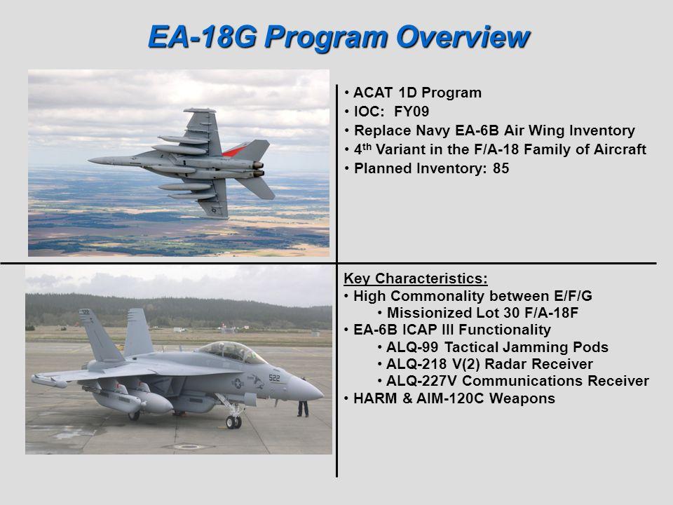 EA-18G Program Overview ACAT 1D Program IOC: FY09