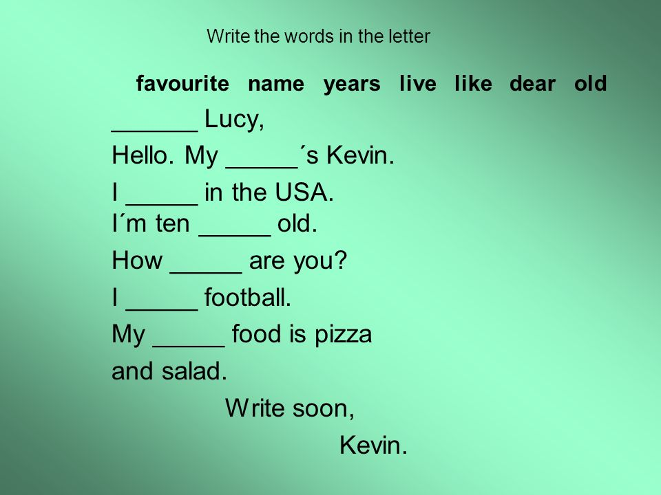 Write the words in the letter