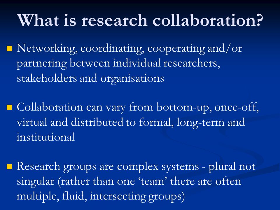 What is research collaboration