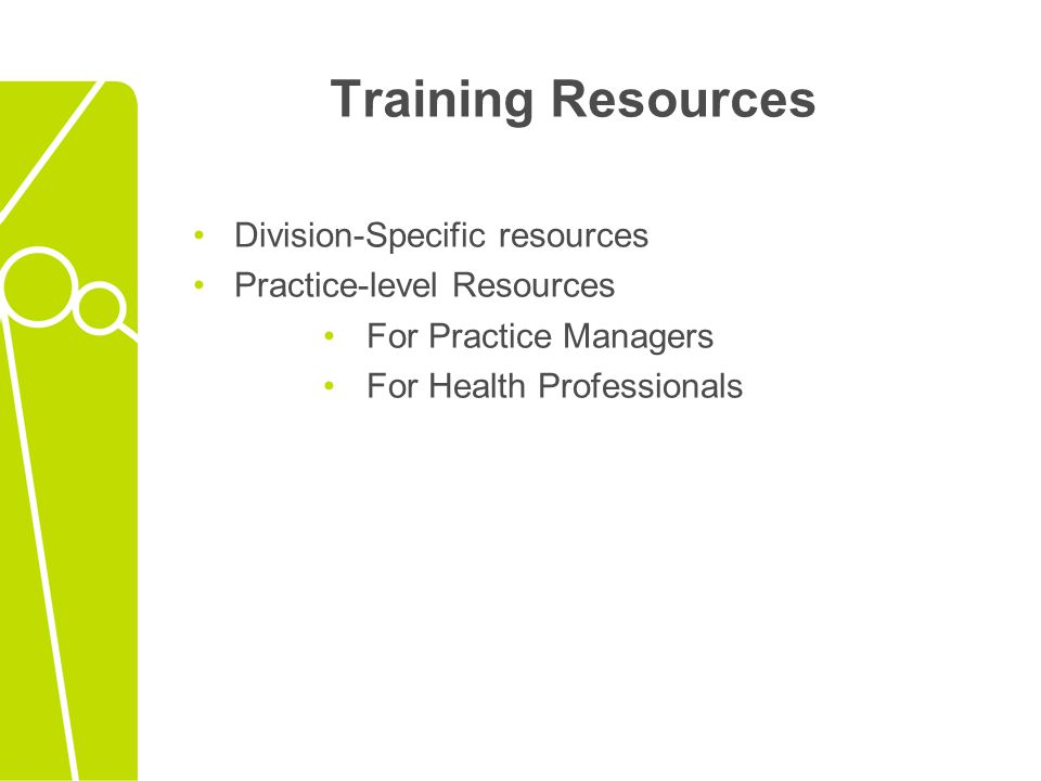 Training Resources Division-Specific resources