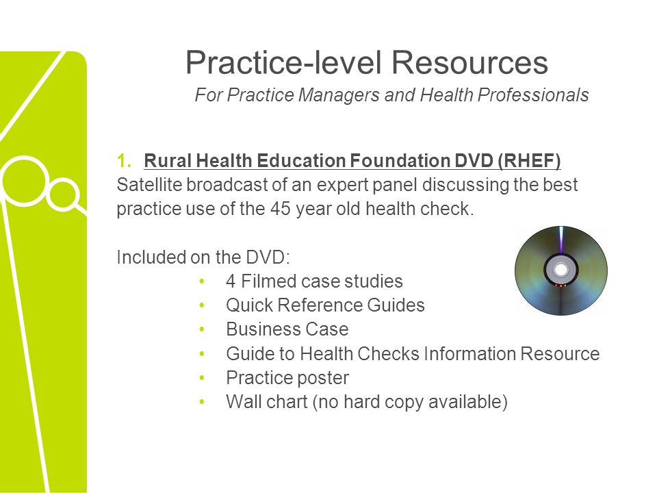 Practice-level Resources For Practice Managers and Health Professionals