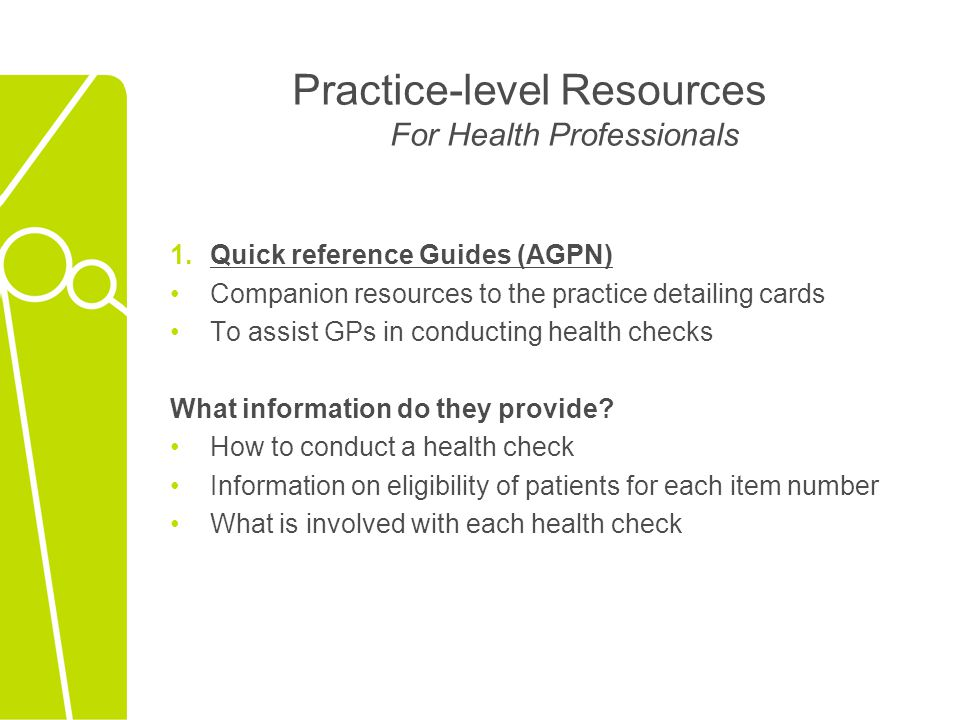 Practice-level Resources For Health Professionals