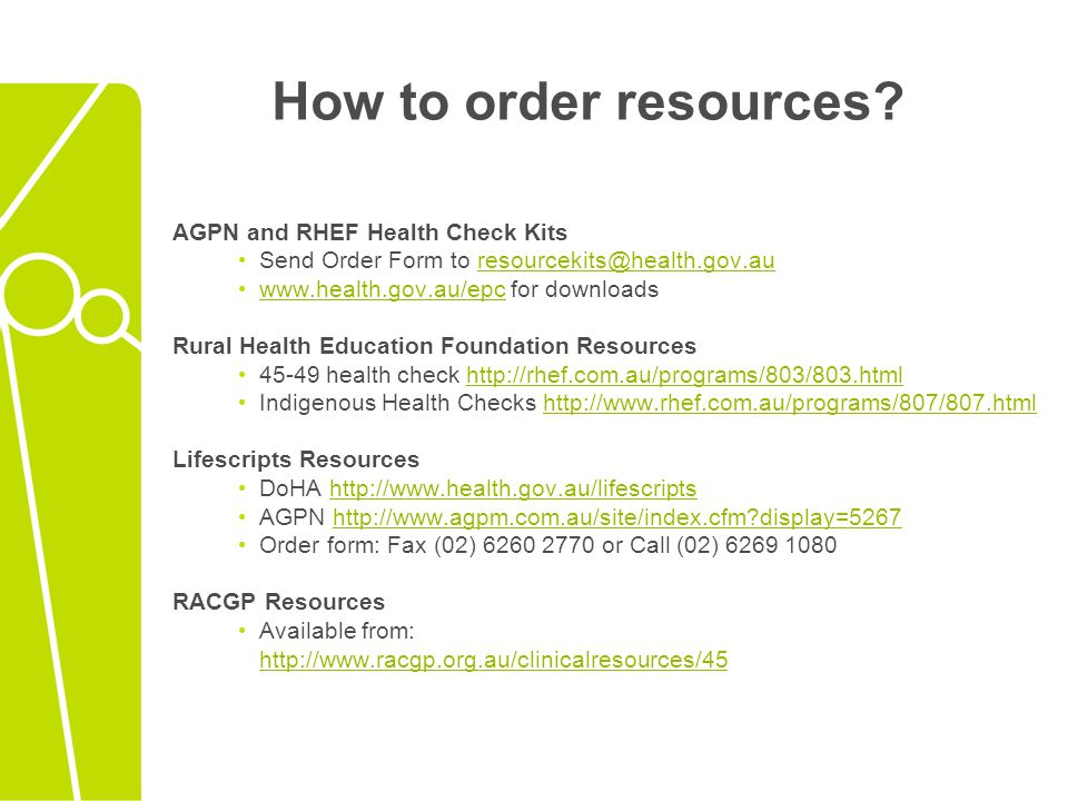 How to order resources AGPN and RHEF Health Check Kits