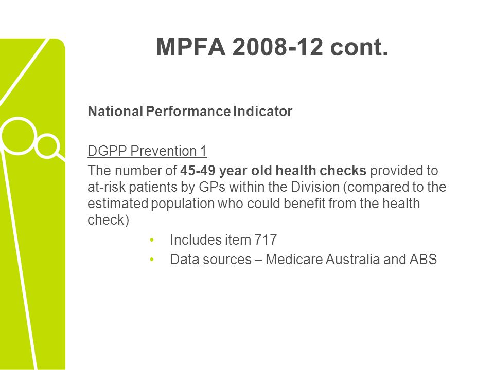 MPFA 2008-12 cont. National Performance Indicator DGPP Prevention 1