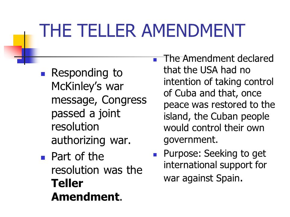 THE TELLER AMENDMENT