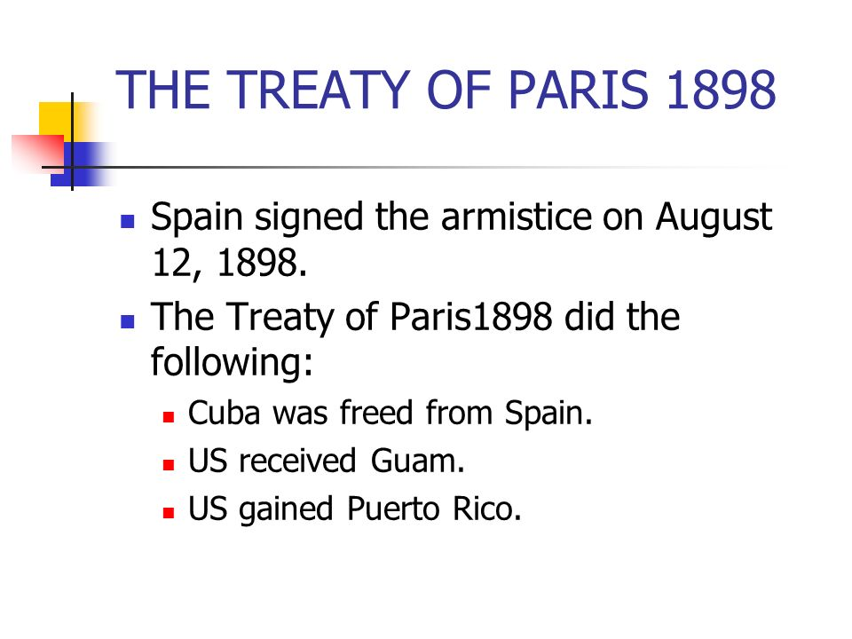 THE TREATY OF PARIS 1898 Spain signed the armistice on August 12, 1898. The Treaty of Paris1898 did the following: