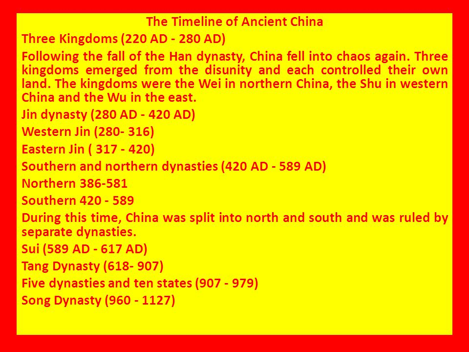 The Timeline of Ancient China