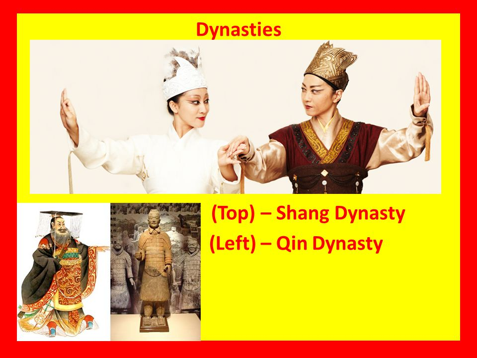 Dynasties (Top) – Shang Dynasty (Left) – Qin Dynasty