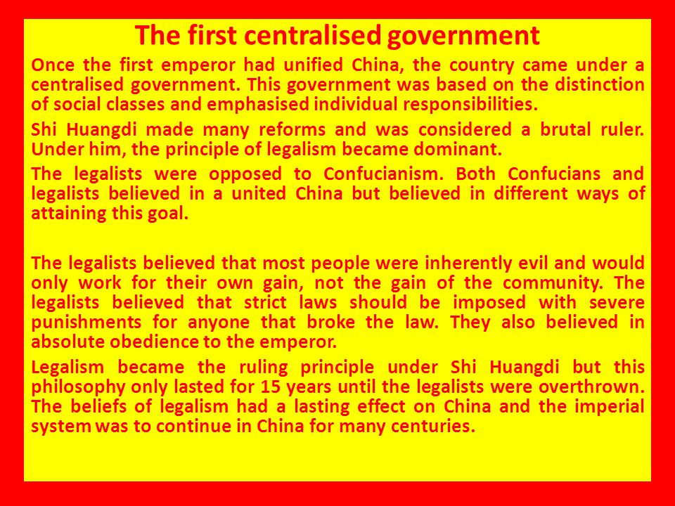 The first centralised government