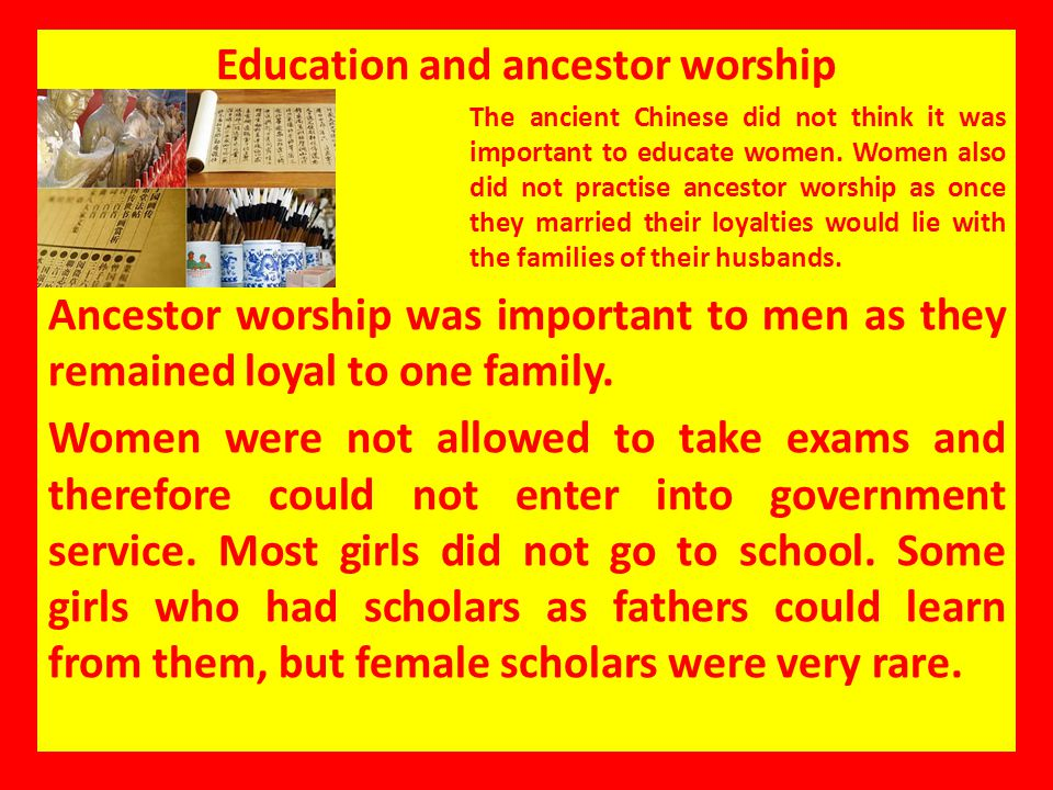 Education and ancestor worship