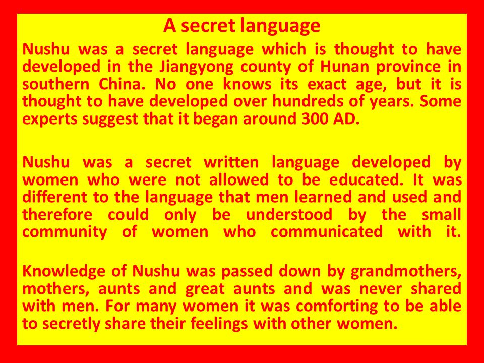 A secret language
