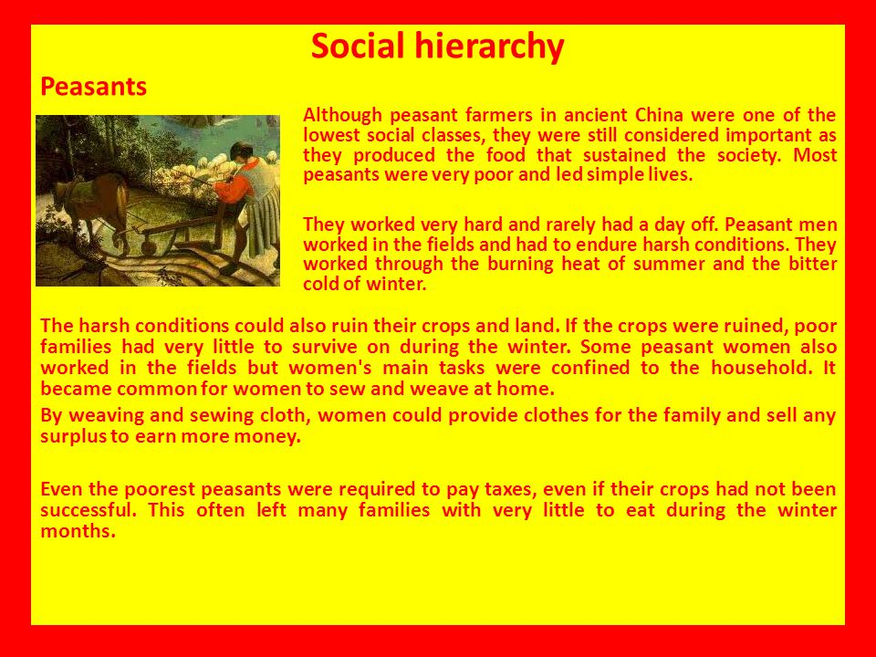 Social hierarchy Peasants