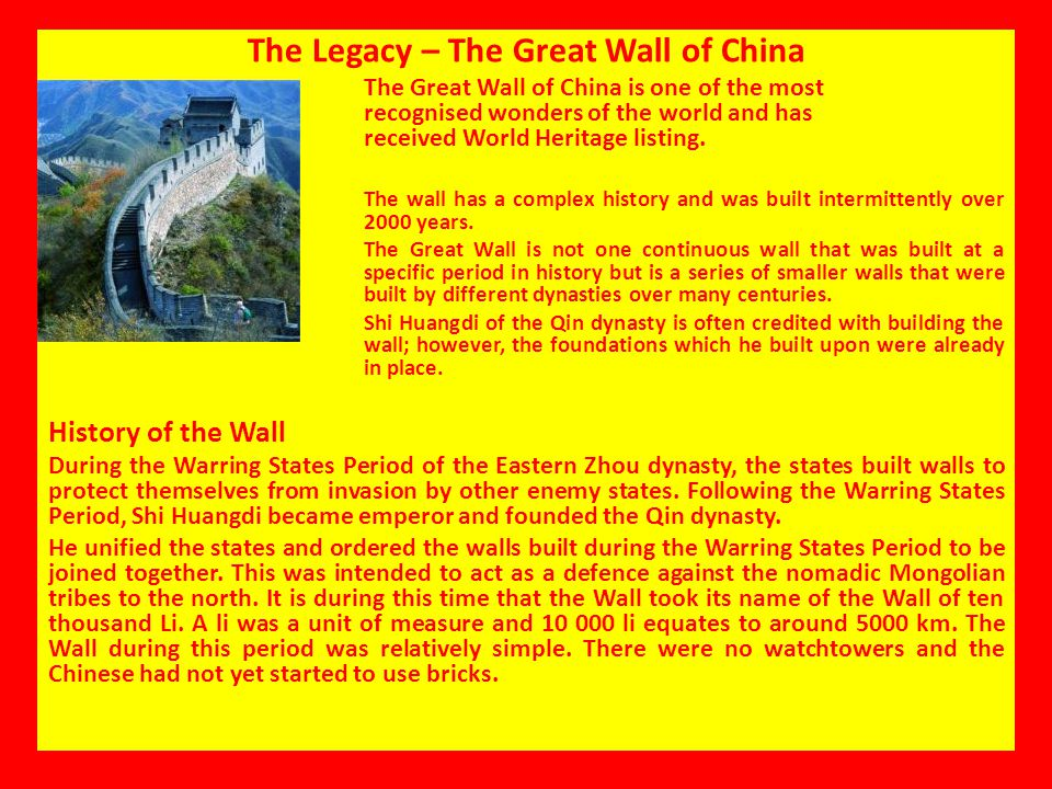 The Legacy – The Great Wall of China