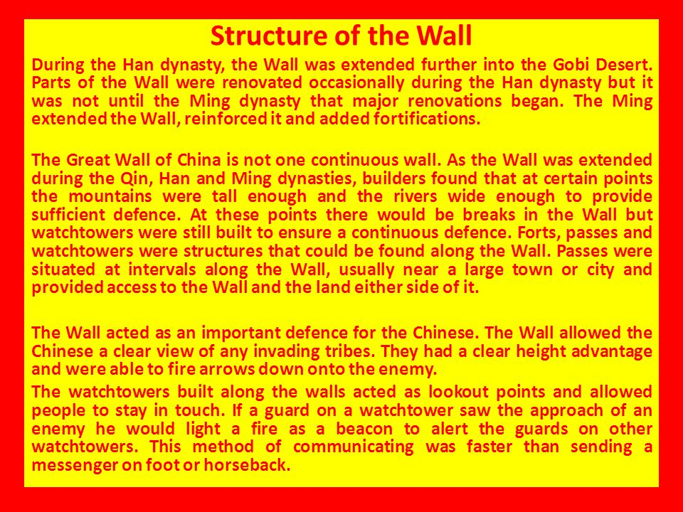 Structure of the Wall