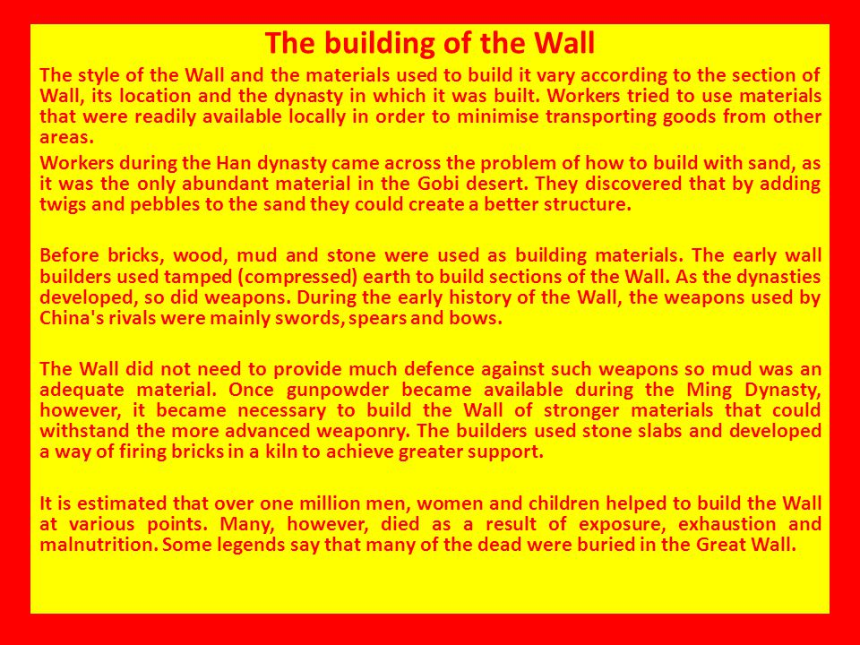 The building of the Wall
