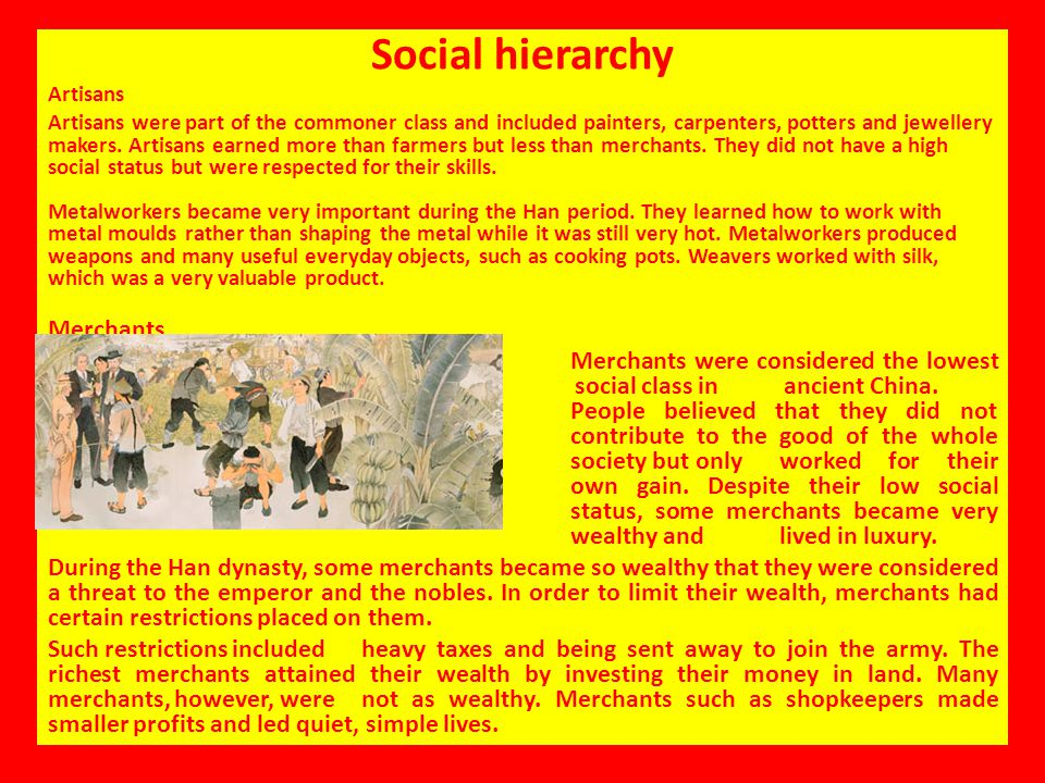 Social hierarchy Artisans.