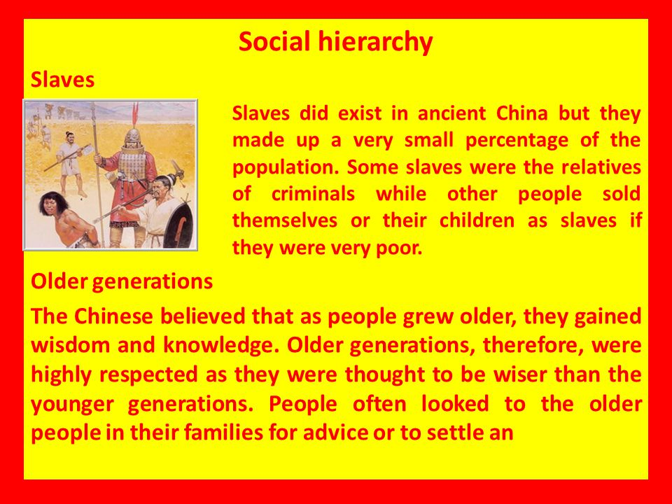 Social hierarchy Slaves Older generations